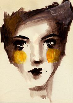 face_sketch by Ekaterina Koroleva, L'art Du Portrait, Abstract Portrait, Portraits, Art Visage, Face Sketch, Sketch Ink, Art Et Illustration, Inspiration Art, Arte Pop