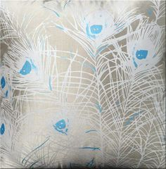 Florence Broadhurst 'Peacock Feathers' cushion in turquoise blue and silvery taupe silk 50x50cm