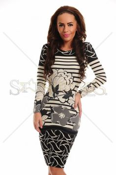 StarShinerS Flowered Grey Dress Trendy Colors, Gray Dress, Female Bodies, Soft Fabrics, Fall Outfits, Floral Prints, Bodycon Dress, Grey, Long Sleeve