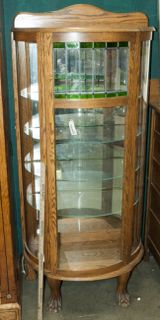 VINTAGE CURIO CABINET WITH TWO GLASS SHELVES AND A BACK THAT IS ...