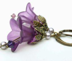 Violet purple flower blossom earrings purple lucite by WickedRuby