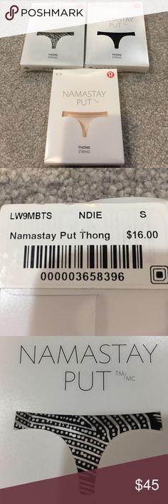 Lululemon Namastay Put Thong NWT 2/4. 3 pair Lululemon Namastay Put Thong String NWT 2/4. Pic 4 May not be the exact back of thong. lululemon athletica Intimates & Sleepwear Panties