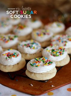 Perfect Soft Sugar Cookies with fluffy white frosting!