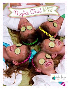 Night Owl Sleepover Party Plan: A 60-Page Guide to Planning Your Own Sleeopver Slumber Mock Sleepover Spa Party INSTANT DOWNLOAD