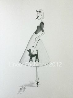 Fashion Art Illustration 1950s Poodle Skirt by LinearFashions, $32.00