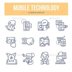 Mobile Technology Doodle Icons — Vector EPS #sync #media • Available here → https://graphicriver.net/item/mobile-technology-doodle-icons/18247086?ref=pxcr