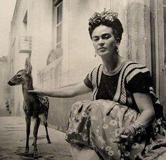 Frida Kahlo with baby deer.  Stunning.