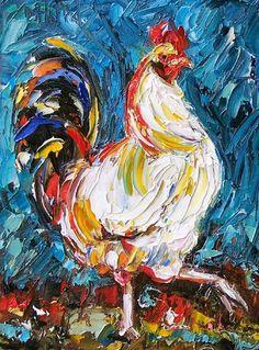 Debra Hurd Original Paintings AND Jazz Art: Rooster, chicken, animal art painting by Debra Hurd