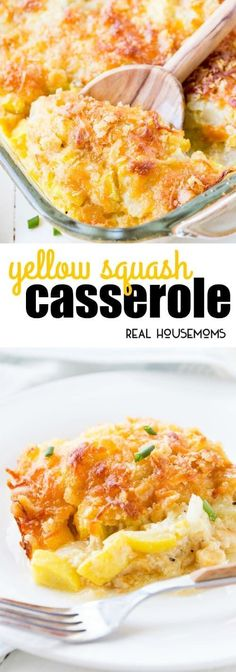 This Yellow Squash Casserole is the ultimate comfort food! It can be prepped ahe… This Yellow Squash Casserole is the ultimate comfort food! It can be prepped ahead of time and popped in the oven just before dinner! via Real Housemoms Low Carb Side Dishes, Veggie Side Dishes, Vegetable Dishes, Vegetable Recipes, Vegetarian Recipes, Cooking Recipes, Healthy Recipes, Veggie Recipes Sides, Sprouts Vegetable