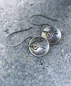 Sterling Silver Earrings, Dangle Earrings, Hand Stamped Jewelry, Silver Dandelion Earrings, Oxidized Earrings, Wish Earrings