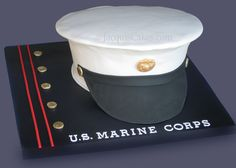 cake images for marines | This sculpted hat cake sites on a fondant decorated board. Serves 20 ...