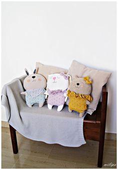 Sewing Stuffed Animals, Stuffed Animal Cat, Stuffed Animal Patterns, Stuffed Toys, Pet Toys, Baby Toys, Kids Toys, Tilda Toy, Softie Pattern