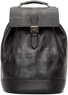 Burberry London Black Embossed Riverton Backpack
