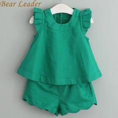 2017 New Arrival Spring&Summer Girls Clothing Sets O-Neck Sleeveless Solid Kids Clothing Sets Children Clothing Girls Summer Outfits, Little Girl Dresses, Kids Outfits, Summer Girls, Children's Outfits, Kids Fashion, Fashion Outfits, Fashion Clothes, Fall Fashion