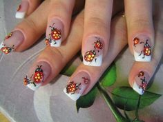 Free-Hand ladybug nail art White Tip French Manicure nails Cute Nail Art, Cute Nails, Pretty Nails, Green Nail Designs, Nail Art Designs, Ladybug Nail Art, French Acrylic Nails, Nails Now, Nailart