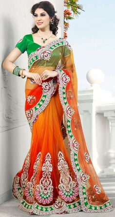 Lush Coral and Orange Net Embroidered Saree - IG6937 USD $ 142.43