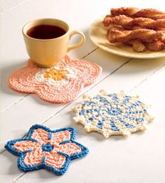 """Coffee Mug Mats, part of Crochet World's FREE Scrap Project of the Month. Get the download here: http://www.crochet-world.com/scrap_project.php?id=15  """"Like"""" the Crochet World Facebook page so you don't miss a single monthly installment: https://www.facebook.com/CrochetWorldMag"""