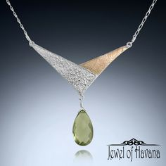 New Green Amethyst Chevron Necklace in Fine Silver (.999)  From the new Secret Garden Collection, this Chevron Necklace is a new twist on a classic design. Layered nature inspired textures with contrasting patina and a beautiful faceted green amethyst drop!  Available on the website at http://www.jewelofhavana.com/store/c73/HandmadeNaturalStoneJewelry