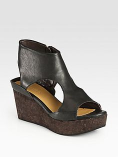 Coclico Mosaic Leather Cork Wedge Sandals