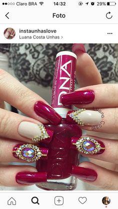Unhas chiques, unhas bonitas, unhas lindas, unhas vermelhas com pedras, cores de Sparkle Nail Designs, Sparkle Nails, Silver Nails, Bling Nails, Acrylic Nail Designs, Nail Art Designs, Nails Design, Fabulous Nails, Perfect Nails