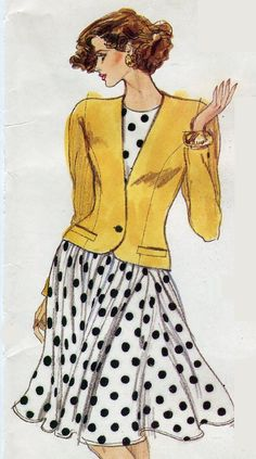 1980s Misses Fit and Flare Dress and Jacket Very by PengyPatterns