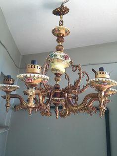 Antika ağır pirinç ve porselen gövdeli avize - Dekopasaj.com - dekopasaj.com