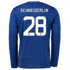 Manchester United 16-17 Morgan #Schneiderlin 28 Udebanesæt Lange ærmer,245,14KR,shirtshopservice@gmail.com