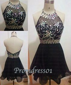 Black halter prom dress, backless short prom dress, vintage dress for teens…