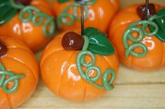 Polymer Clay Pumpkin placecard holders