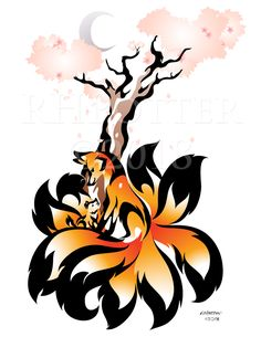 Sakura Moon by RHPotter on DeviantArt Cute Animal Drawings, Animal Sketches, Cute Drawings, Art Sketches, Mythical Creatures Art, Fantasy Creatures, Fox Tattoo Design, Wild Animals Pictures, Wolf Spirit Animal