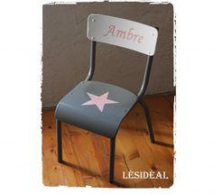 Rue-des-Relookeurs: Chaise enfant vintage étoile rose