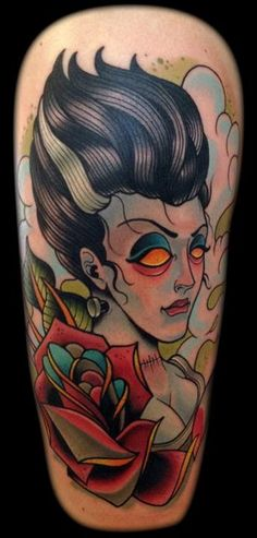 Bride of Frankenstein is a babe.  David Tevenal at Memento Tattoo & Gallery in Columbus, Ohio. *****