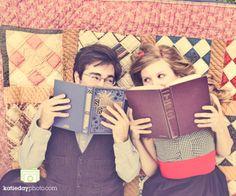 reading books engagement session