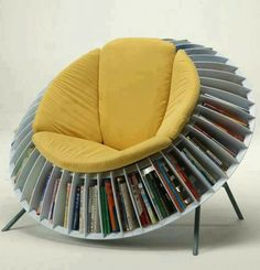 Bookcase and sunflower chair with yellow soft pads are also suitable for relaxing while read