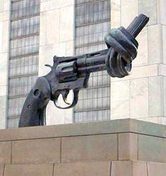 Symbol of Peace & Disarmament, UN building New York