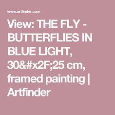 View: THE FLY - BUTTERFLIES IN BLUE LIGHT, 30/25 cm, framed painting | Artfinder
