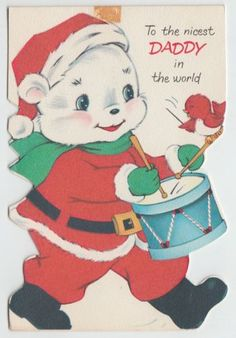 Vintage-Norcross-White-Bear-Playing-Drums-Christmas-Greeting-Card