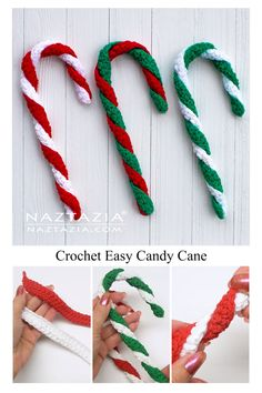 Here's a quick and very easy candy cane to crochet. With just 2 rows of single crochet stitches, this crochet pattern is perfect for a beginner. Candy Cane Decorations, Crochet Christmas Decorations, Crochet Christmas Ornaments, Christmas Crochet Patterns, Holiday Crochet, Christmas Diy, Christmas Candy, Crochet Decoration, Christmas Parties