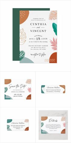 Trendy and Modern Abstract Tropical Shapes Invitation Suite - with items from invitation to RSVP cards, Thank You Cards, Table Cards, Address Labels, Sign Posters, and more. Spring Wedding Invitations, Wedding Invitation Design, Table Cards, Address Labels, Wedding Themes, Botanical Gardens, Thank You Cards, Rsvp, Tropical