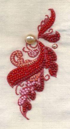 Perles brodées sur tissu