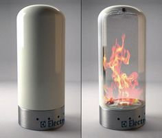 Electrolux Fireplace This fireplace created by Camillo Vanacore for Electrolux looks almost magical because of its transformation from off to on, from an opaque ceramic column to a transparent one.