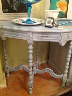 Blue Oval Painted Distressed  Side Table by TessHome on Etsy, $225.00  Tess Home - 707 Arnold Ave   Point Pleasant Beach, NJ