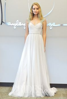 """Brides.com: Hayley Paige - Fall 2014. Style 6546, """"Houston"""" ivory and blush net A-line wedding dress with a sweetheart neckline and beaded straps, Hayley Paige"""