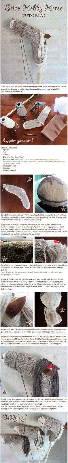 Hobby stick horse activity tutorial. Toy Story or western birthday party theme for a cowboy or cowgirl.