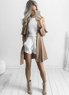 white cable knit top   high waisted shorts   nude cape fashion trends