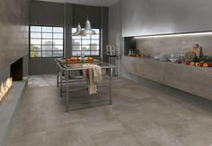 Carrelage aspect ciment Petitot de Novoceram  http://www.novoceram.fr/produit/petitot  #carrelage #cuisine #loft #ilot #deco #decoration #ciment #beton #carreai #legumes #cheminée
