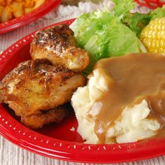 Chicken is the PERFECT choice for a summer meal. What an appealing meal with corn on the cob, and mashed potatoes!