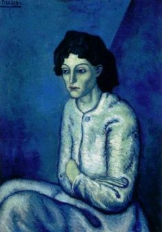 this uses free form shape. The affect is it makes her look more realistic.This is the blue period