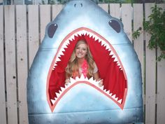 I recently made this large shark as a photobooth for a Hawaiian themed party I hosted. It was a hit!
