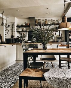 Cosy kitchen with wood and steel table and monochrome tiles Cosy Kitchen, Farmhouse Kitchen Tables, Home Decor Kitchen, Interior Design Kitchen, Design Bathroom, Small House Renovation, House Renovations, Interior Exterior, Hygge